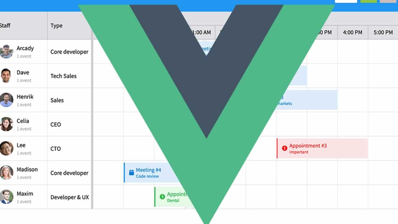 Vue Scheduler Component| Vue Event Calendar
